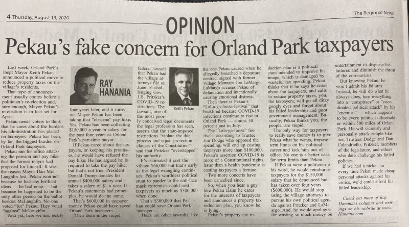 Pekau's fake concern for Orland Park taxpayers