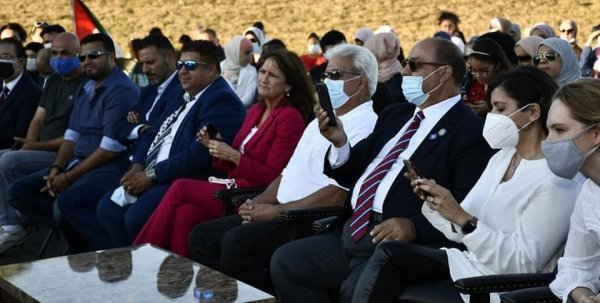 Attendees listen to speeches at rally for Marie Newman in Bridgeview Friday Sept. 4, 2020. Photo courtesy of the American Arab Chamber of Commerce