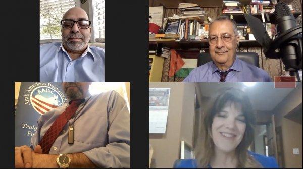 Hassan Nijem, Ray Hanania, Samir Khalil, Patricia Joan Murphy at the AADC Online Candidates Rally Oct. 25, 2020
