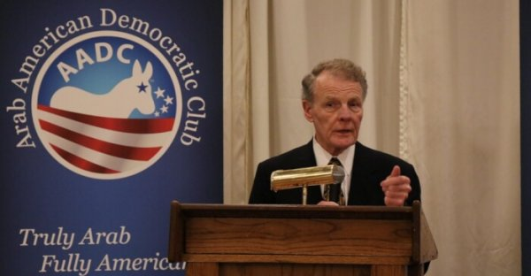 Illinois House Speaker Michael J. Madigan addressing the Oct. 21, 2018 candidate's forum hosted by the Arab American Democratic Club in suburban Chicago. Photo courtesy of Ray Hanania