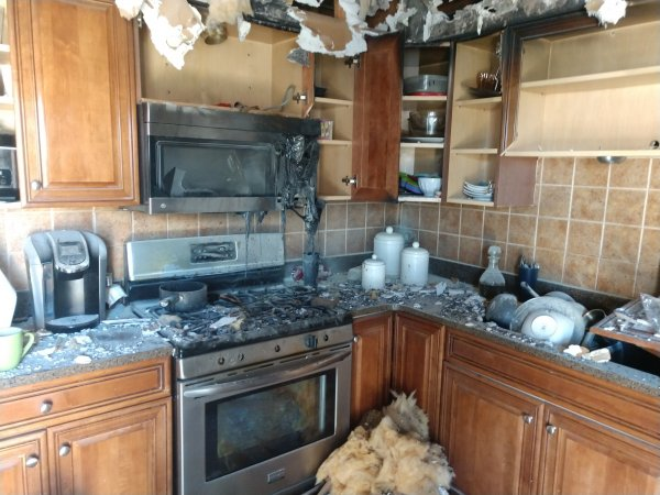 Damage from stove-top fire extinguished by OFPD with assistance from fast acting neighbor with a fire extinguisher. Photo courtesy of the Orland Fire Protection District