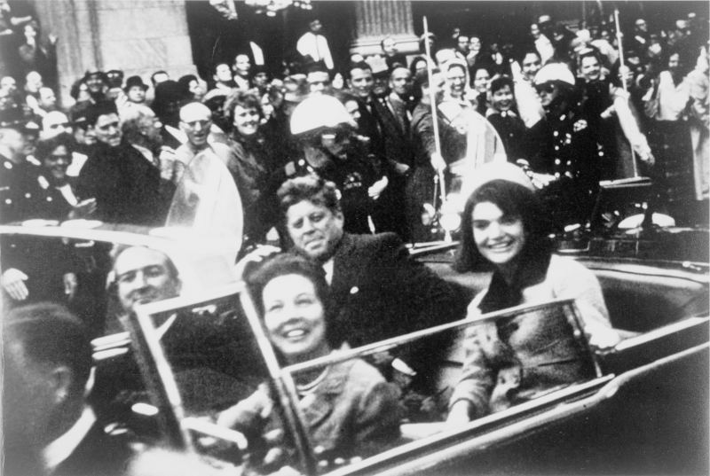 The Kennedys and the Connallys in the presidential limousine moments before the assassination in Dallas Victor Hugo King, who placed the photograph in the public domain (presumably when he gave it to the Library of Congress). Photo courtesy of Wikipedia