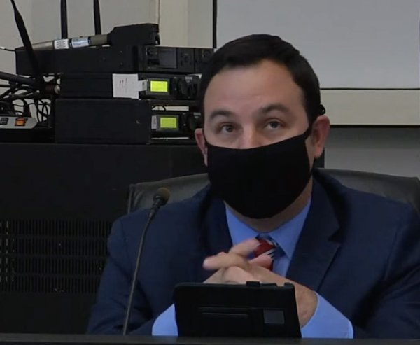 Orland Park Trustee Dan Calandriello wearing a face mask. Photo courtesy of Village of Orland Park