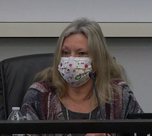 Orland Park Trustee Kathy Fenton wearing a face mask. Photo courtesy of Village of Orland Park