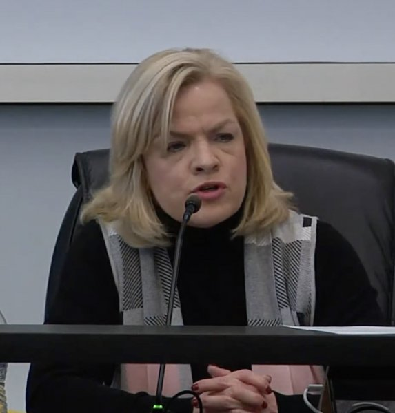 Orland Park Trustee Cindy Katsenes not wearing a face mask. Photo courtesy of the Village of Orland Park.