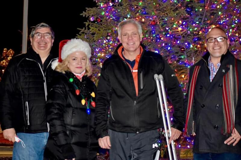 Orland Park Mayor Keith Pekau and his allies on the board not wearing face masks during the recent lighting of the Village Christmas Tree, Nov. 29, 2020. Photo courtesy of the Village of Orland Park Facebook Page.