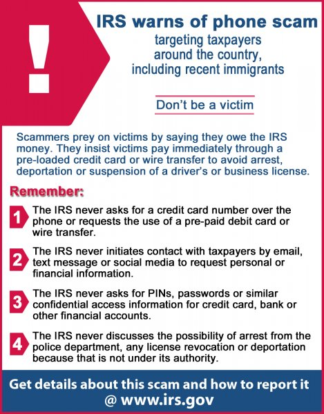 IRS warns public about scammers. How to report telephone scams. Photo courtesy of the iRS
