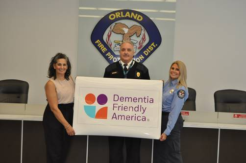 From left: Aishling Dalton Kelly, owner of Aishling Companion Home Care and the Aishling Care Academy in Orland Park, Fire Chief Michael Schofield, and Betsy Dine, Fire & Life Safety Education Coordinator. Photo courtesy of the OFPD