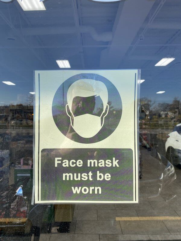 Face mask signs posted by businesses in Orland Park that are demonstrating concern and leadership is helping to suppress the spread of the coronavirus. Photo courtesy of Ray Hanania