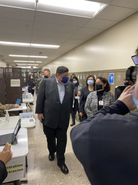 Gov. J.B. Pritzker tours the Morton High School COVID-19 vaccination health center Thursday Jan. 28, 2021. Photo courtesy of the Town of Cicero