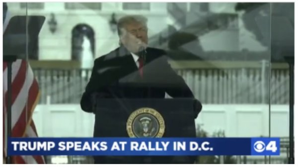 President Trump addressing DC Protestors urging against violence, a message the biased news media doesn't want you to hear. Photo screen shot from video of Trump speech