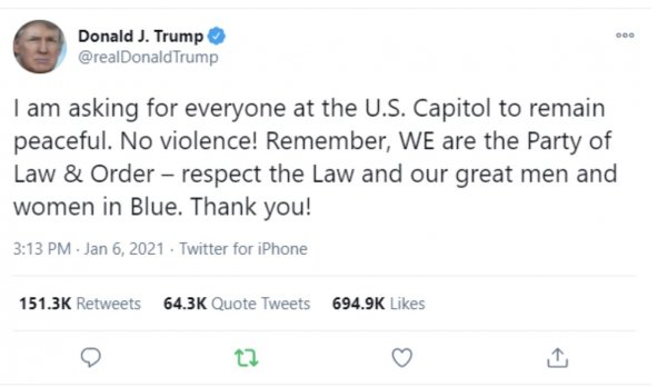 Trump statement at 3:30 PM Jan. 6, 2021 urging DC Protestors to refrain from violence. From suspected Trump Twitter account