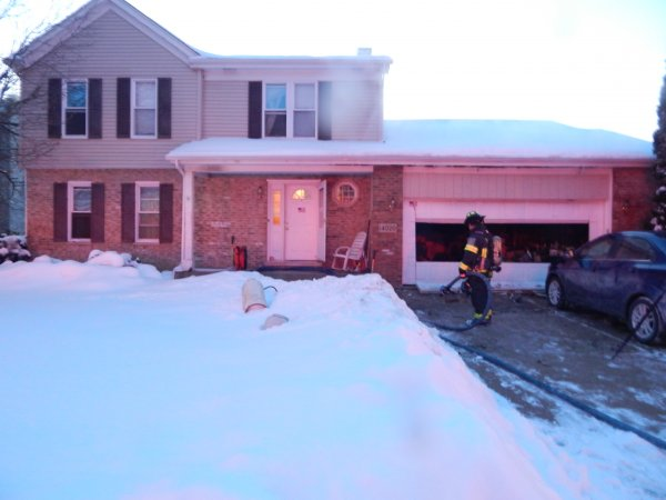 Garage fire at 14000 block of Creek Crossing Drive. Photo courtesy of the Orland Fire Protection DIstrict