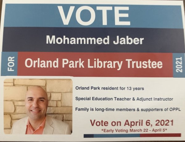 Mohammed Jaber candidate handout Orland Park Library April 2021