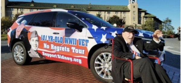 Sidney Walton, 101, from California and one of America's last WWII vets, is on a national No Regrets Tour. He is visiting all 50 states and meeting all 50 governors in a campaign to raise awareness of the rapidly shrinking number of WWII vets and the sacrifices they made to save this great country. Photo submitted
