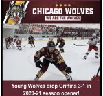 Chicago Wolves first game promo, win over Griffins. Courtesy of the Chicago Wolves