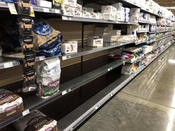 Near empty shelves at the start of the Coronavirus pandemic in March 2020. Photo courtesy Ray Hanania