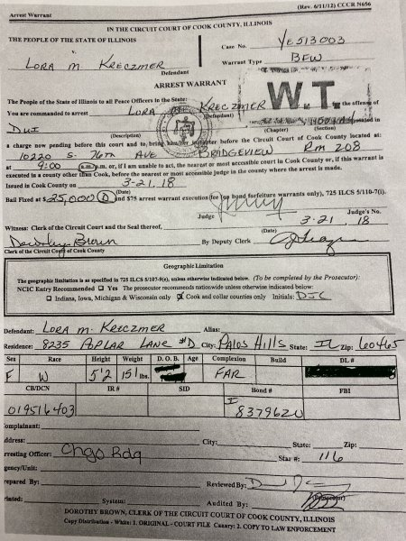 Lora Kreczmer Arrest Warrant Chicago Ridge Police