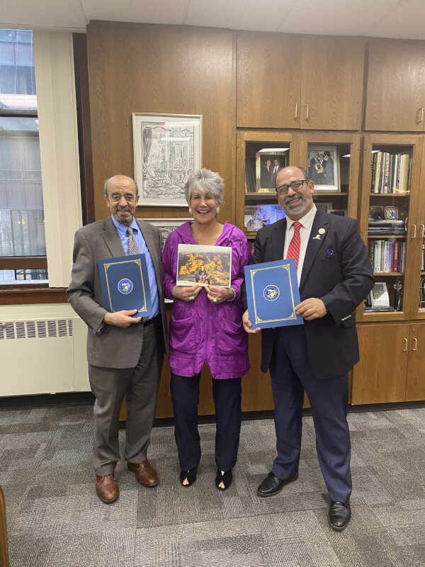 Cook County Treasurer Maria Pappas honors Arab American Heritage Month with Samir Khalil (left), president of the Arab American Democratic Club, and Hassan Nijem, president of the American Arab Chamber of Commerce. Photo courtesy of Cook County Treasurer Maria Pappas.