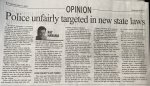 Opinion Column from The Regional News Newspaper March 31, 2021 on unfairness to police and the sloppy misguided politics of Sean Morrison