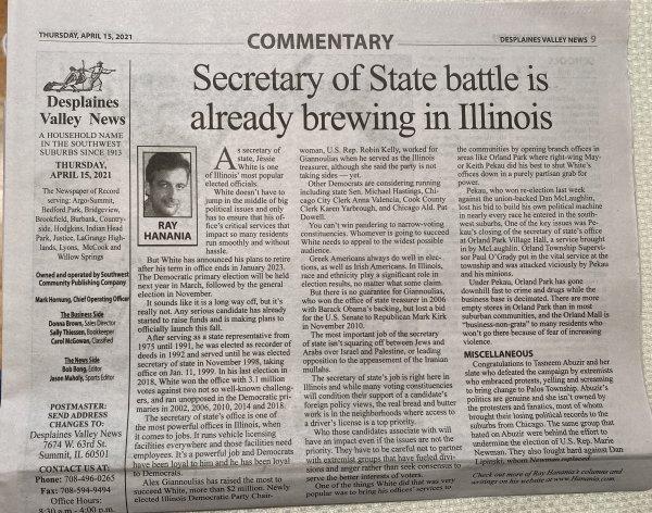 Ray Hanania column on the Southwest News Newspaper Group April 14, 2021
