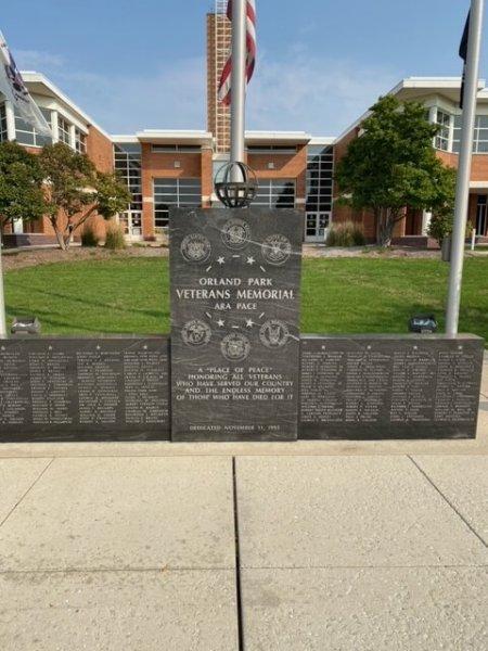 Orland Park Veterans Memorial Wall. Photo courtesy of the Village of Orland Park Veterans Website