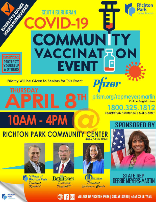 State Rep. Meyers-Martin Announces Community Vaccination Event in Richton Park