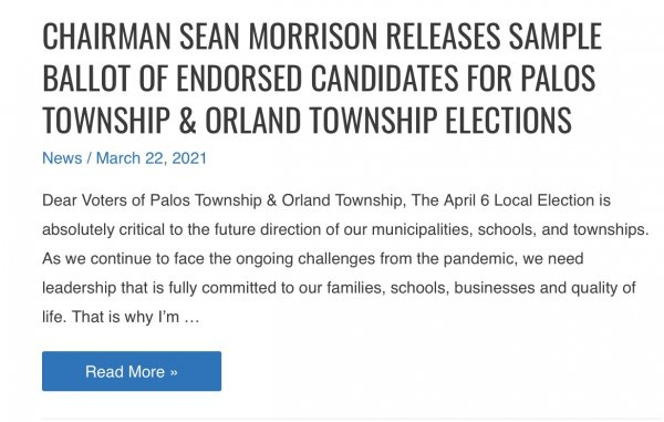 Cook County GOP Chairman Sean Morrison issues endorsement only for Palos Township and Orland Township, not in other GOP Township races