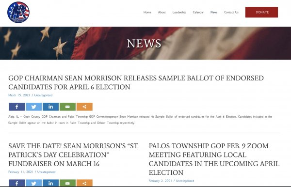 Cook County GOP Chairman Sean Morrison issues endorsement on County GOP Website only for Palos Township and Orland Township, not in other GOP Township races
