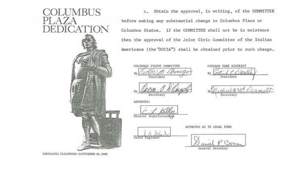 Agreement on Christopher Columbus Statue