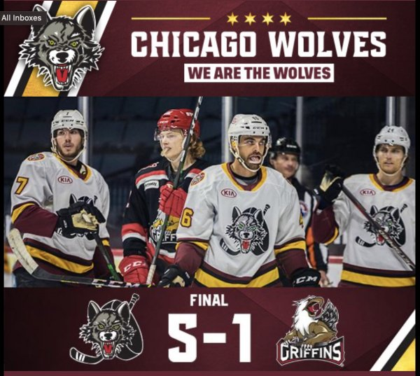Chicago Wolves beat Grand Rapids Griffins April 26, 2021. Photo courtesy Chicago Wolves