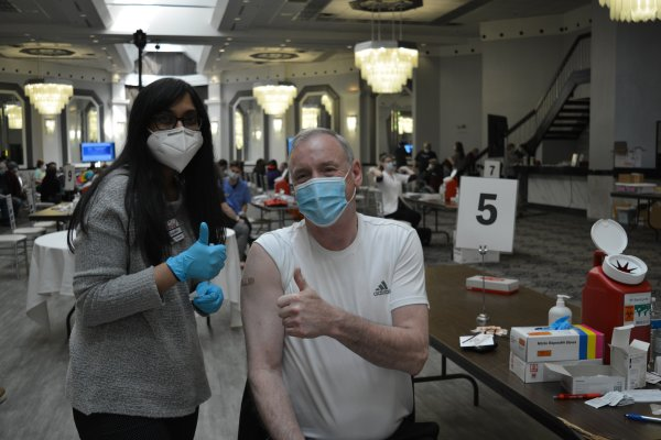 Orland Township Supervisor gets COVID-19 vaccination. Partners with Jewel to provide vaccines to seniors and residents.