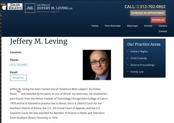 Jeffery M. Leving website snapshot