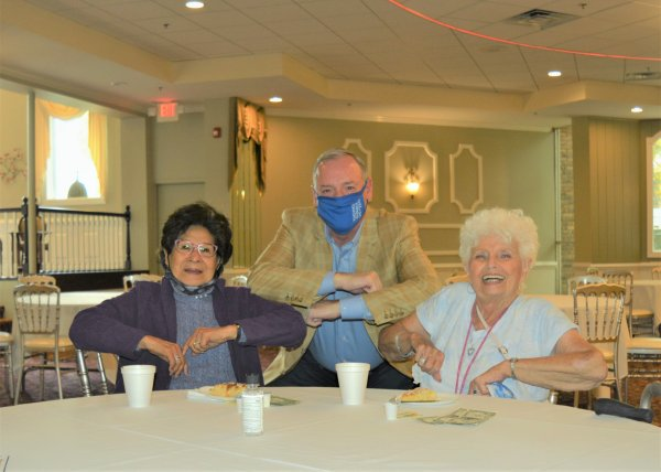 Orland Township Supervisor Paul O'Grady with seniors residents of the Township who enjoy all of the Townships many senior services. Photo courtesy of Orland Township