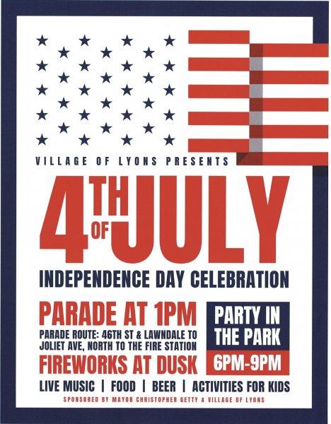 Lyons 4th of July celebration fireworks