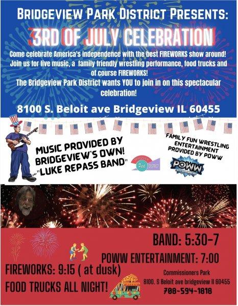 Bridgeview Park District fireworks, courtesy of the Bridgeview Park District