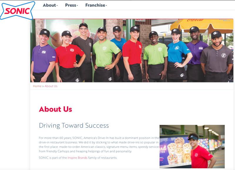 Sonic Drive-in Webpage