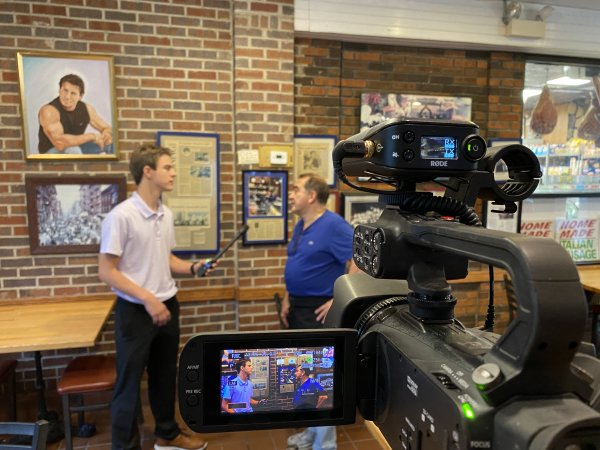 """Aaron Hanania interviews Freddy's Pizza owner Joe Quercia in Cicero on the """"It's Not So Late Show"""""""