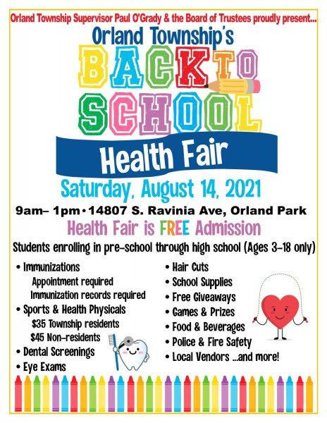 Orland Township Back to School Health Fair flyer 2021