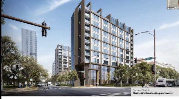 a proposed development at 4600 N Marine Drive, Chicago opposed by local neighbor associations
