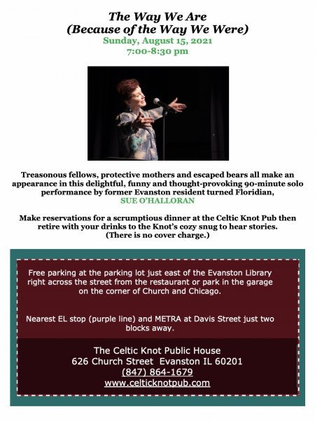 The Way we are (Because of the Way we Were) - performance by Sue O'Halloran One-Time Performance at Celtic Knot, Evanston - Sunday, August 15, 2021 at 7 pm