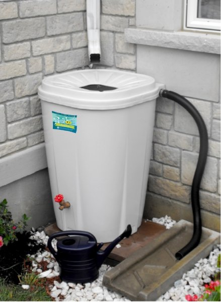MWRD rain barrels hold up to 55 gallons, stand 36 inches tall and 24 inches wide, and come in four colors with overflow valves and spigots. Courtesy of the MWRD