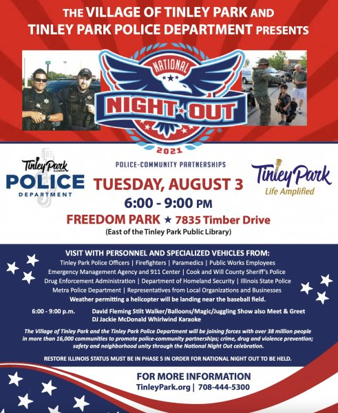 Tinley Park National Night Out August 2, 2021