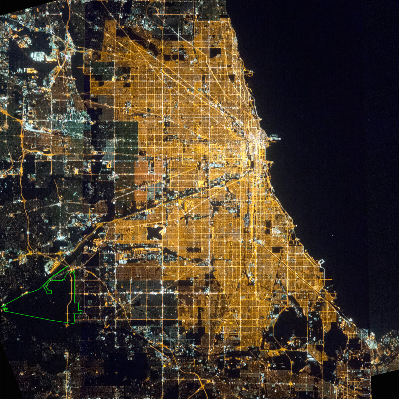 Palos Preserves Named the World's Largest Urban Night Sky Place. Area indicated by green border in bottom left of map taken by the International Space Station. Photo courtesy of NASA and the Cook County Forest Preserve District