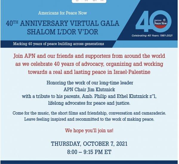 Americans for Peace Now honors Jim Klutznik October 7, 2021