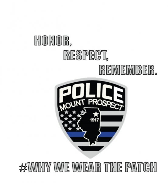 Mount Prospect Badge with Blue Line attacked by anti-Police activists and the League of Women Voters. Photo courtesy of the Mount Prospect Police