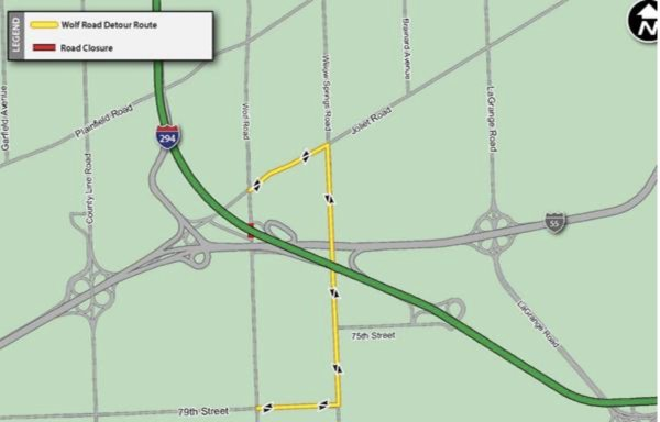 Wolf Road Detour planned under I-294 for repair work August 2021