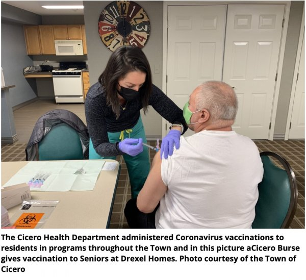 The Cicero Health Department administered COVID vaccinations to all residents and to seniors including to seniors as pictured here at the Drexel homes. Photo courtesy of the Town of Cicero