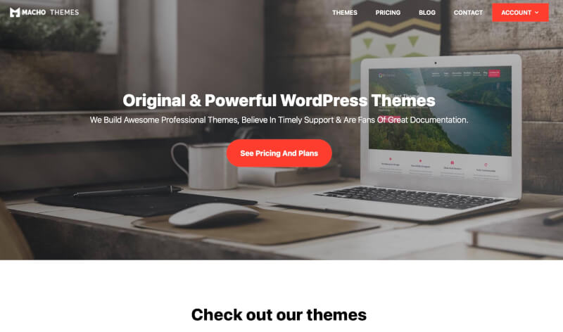 Macho Themes website front page. Don't buy their themes. They don't work