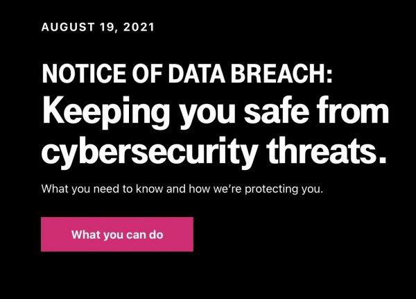 T-Mobile data breach alert August 16, 2021